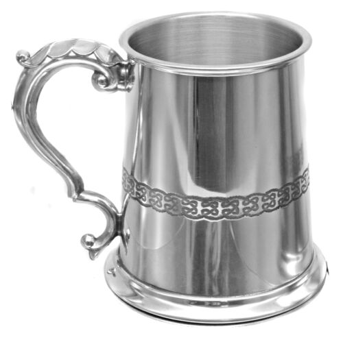 Personalised 1 Pint British Made Celtic Band /& Lion Pewter Tankard,Engraved Gift