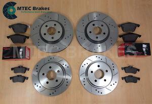 Ford-Focus-st225-2-5-Mtec-perforados-acanalado-Discos-De-Freno-Delantero-Trasero-amp-Brembo