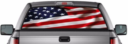 AMERICAN USA FLAG PICK-UP TRUCK WINDOW GRAPHIC DECAL PERFORATED STICKER VINYL