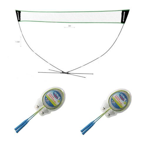 Portable QP Net /& Post Home Badminton Garden Pack Set 4 Rackets 2 Shuttles