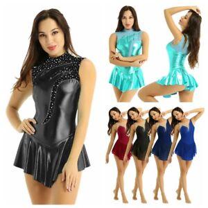 Womens-Ballet-Dress-Metallic-Shiny-Tutu-Dance-Leotard-Skirts-Lyrical-Gymnastics