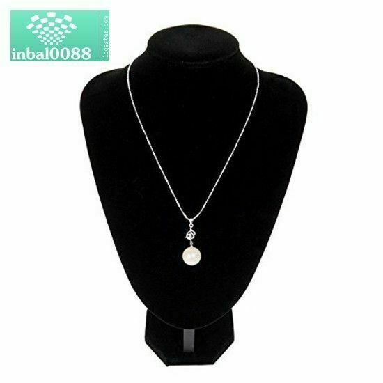 Adorox Black Velvet Necklace Pendant Chain Jewelry Bust Display Holder Stand 1, Black