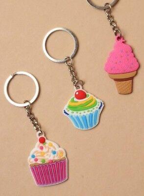 Cordiale Portachiavi Ciondolo Cupcake In 3 Design Stocking Filler Regalo-mostra Il Titolo Originale Belle Arti