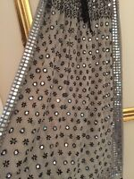Soft Surroundings Yasmina Georgette Skirt Embellished Black & Champagne 0/s