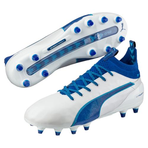 Puma evotouch 1 FG Bianco Blu Pro Scarpe Da Calcio Taglia