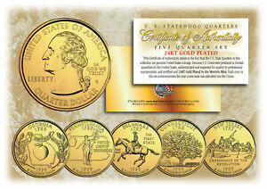 1999-US-Statehood-Quarters-24K-GOLD-PLATED-5-Coin-Complete-Set-w-Capsules