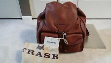 NEW TRASK AN AMERICAN ORIGINAL REILY BROWN LEATHER DRAWSTRING BACKPACK