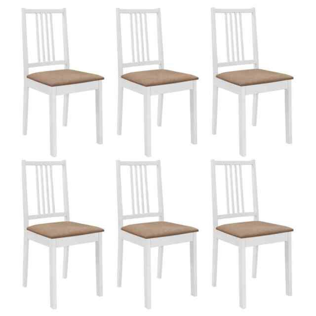 Vidaxl 6x legno massello di Hevea sedie da pranzo con Cuscini bianche Seggiole