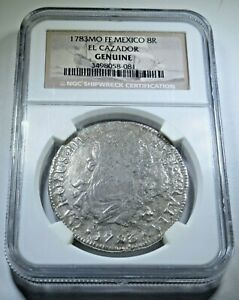 1783-El-Cazador-Shipwreck-8-Reales-Coin-NGC-Eight-Real-Spanish-Pirate-Treasure
