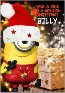 Minion Christmas.Details About One In A Minion Christmas Card A5 Personalised With Own Words