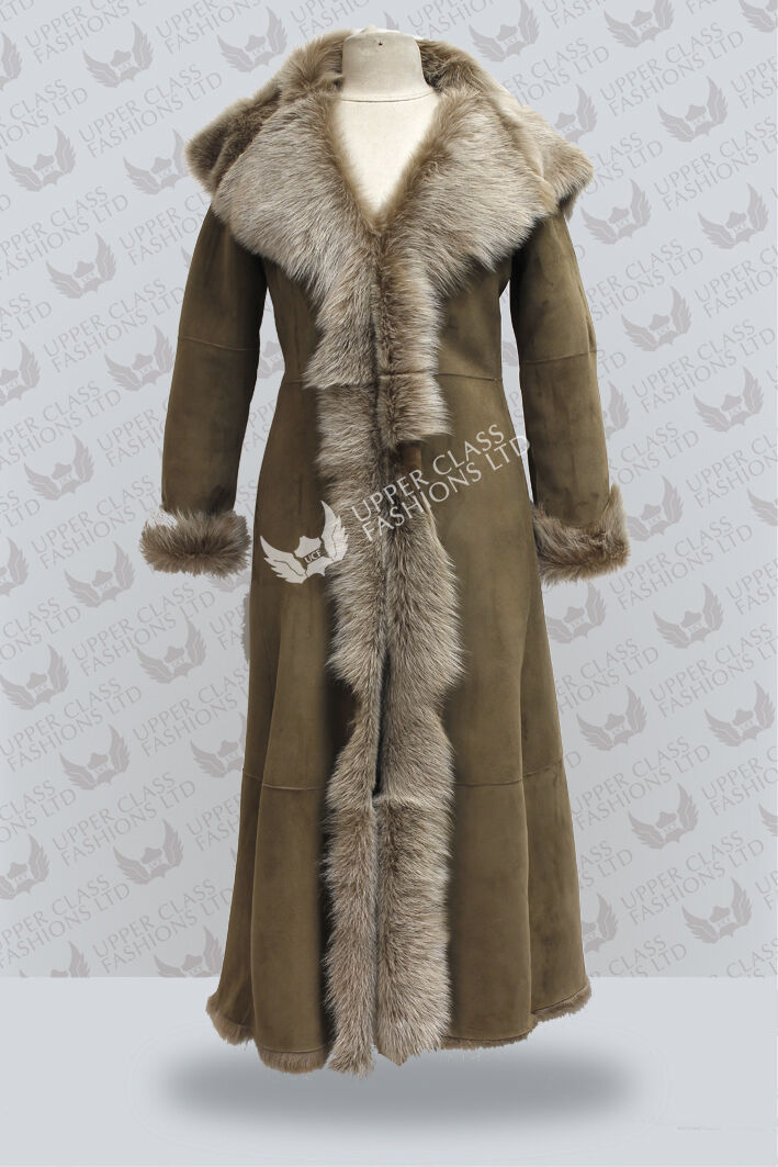 Bäver, långbenta damer mocka Toscana Sheepsky läder Trench Coat