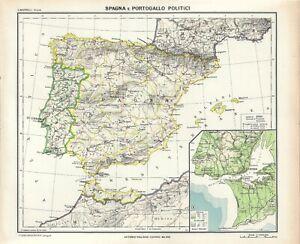 Spagna Ibiza Cartina Geografica.Carta Geografica Antica Spagna Portogallo Ante 2 Guerra Mon 1937 Old Antique Map Ebay