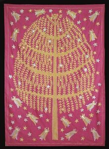 "UZBEK SILK EMBROIDERY SUZANI WITH MAGICAL DESIGN ""TREE OF LIFE AND FAIRIES"" N141"