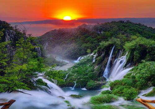 Fototapete Tapete Wandbild F1755001 Sonnenuntergang Natur Baum Wasserfall Wald