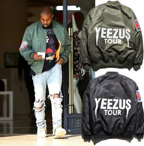 KANYE-WEST-YEEZUS-Men-039-s-MA1-Bomber-Jacket-Hip-Hop-Coats-Streetwear