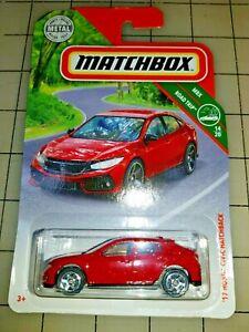 2019-Matchbox-039-17-Honda-Civic-Hatchback-Red-MBX-Road-Trip