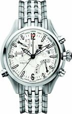 NEW-TX SILVER TONE,S/STEEL,500 SERIES WORLD TIME WATCH T3B821