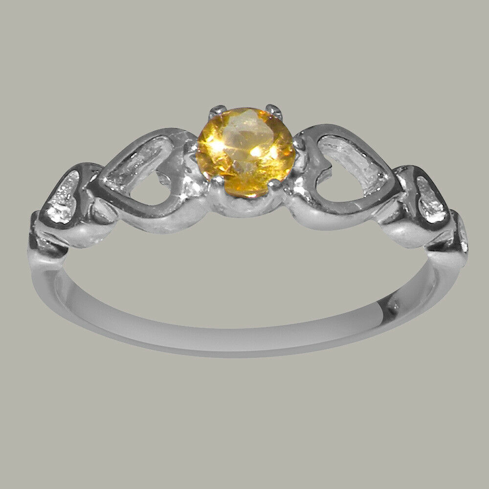 Solid 18k White gold Natural Citrine Womens Solitaire Ring - Sizes 4 to 12