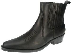 Mid Tex Weston en Leather Botines Wrangler Chelsea Pull Cowboy Black qAxwgd5wp