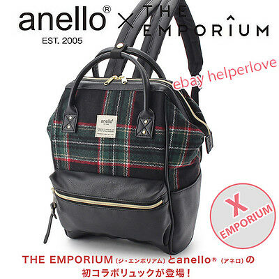 Japan Anello Original Backpack Rucksack EMPORIUM BLACK CHECKER Unisex Bag Campus