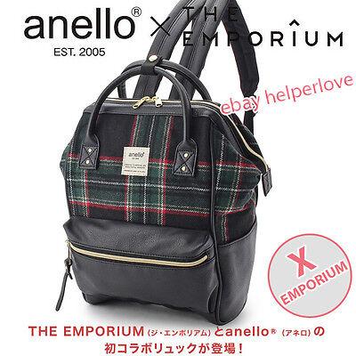 Japan Anello Original Backpack Rucksack EMPORIUM BLACK CHECKER Unisex Bag Campus