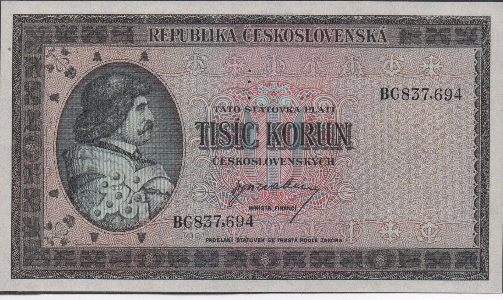 Czechoslovakia 1000 Korun ND  1945 P 65s Specimen Uncirculated Banknote