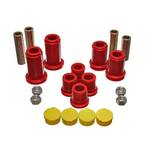 Energy Suspension 3.3180R Control Arm Bushing Set Red For Upper Bushing Front