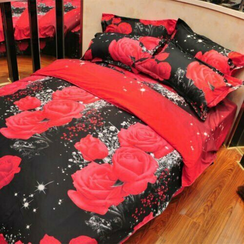 3pcs 3D Rose Bedding Fitted Sheet Bed Cover 2 Pillowcase Textile Queen Size