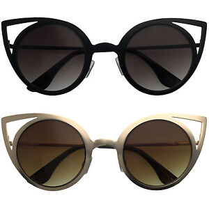 Cat Eye Round Cutout Metal Frame Trimmed Frames Style Women Sunglasses Cutoff