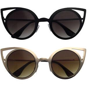 Cat-Eye-Round-Cutout-Metal-Frame-Trimmed-Frames-Style-Women-Sunglasses-Cutoff