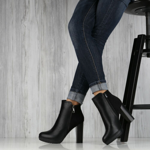 Damen Stiefeletten Plateau-Boots Zipper Holzoptikabsatz Schuhe 892277 Top