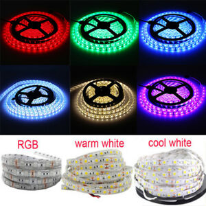 16-Ft-5M-RGB-White-Blue-300-5050-LED-Flexible-Light-Strip-Lamp-Waterproof-DC-12V