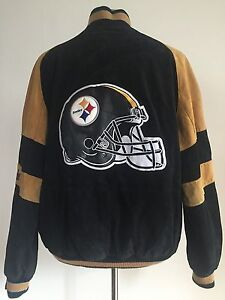 c07fb23d7f0 Image is loading PITTSBURGH-STEELERS-SUEDE-NFL-FOOTBALL-JACKET-MEN-039-