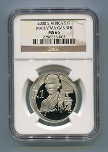 NGC-Graded-South-Africa-2008-Gandhi-Silver-R1-MS-66-Coin