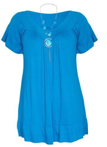 Womens Frill Necklace Gypsy  Short Sleeve Long V Neck Tunic Tops SIZE  UK12-UK30