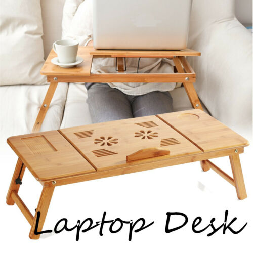70cm Foldable Folding Lap Desk Bamboo Laptop Bed Table Stand Tray Adjustable UK