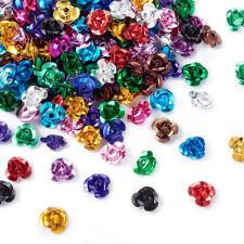 8 Pcs Rose Flower Metal Beads Antique BronzeSilverMix Color