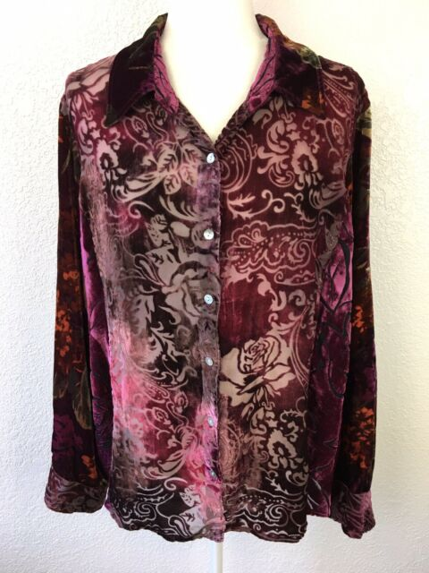 Coldwater Creek Velvet Burnout Button Up Long Sleeve Blouse Womens Size 2X