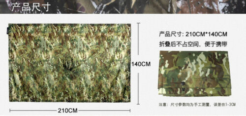 Tactical Camo Poncho Groundsheet Mat Canopy Shelter Bionic Rain Hooded Raincoat