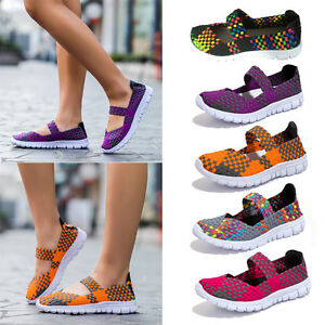 Women Ladies Slip On Elastic Flat Shoes Summer Breathable Casual Sandals Size