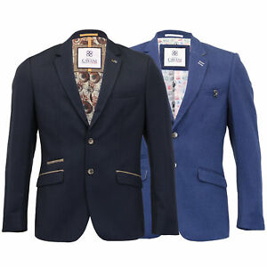 Mens-Blazer-Cavani-Coat-Dinner-Suit-Jacket-Button-Lined-Patches-Wedding-Formal