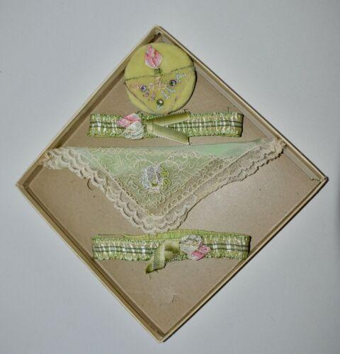 STUNNING Antique Hand Embroidered GARTERS & MATCHI