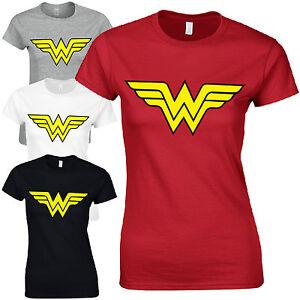 Wonder woman ladies fitted t shirt retro womens for Retro superhero t shirts
