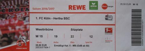 TICKET BL 2016//17 1 Hertha BSC FC Köln
