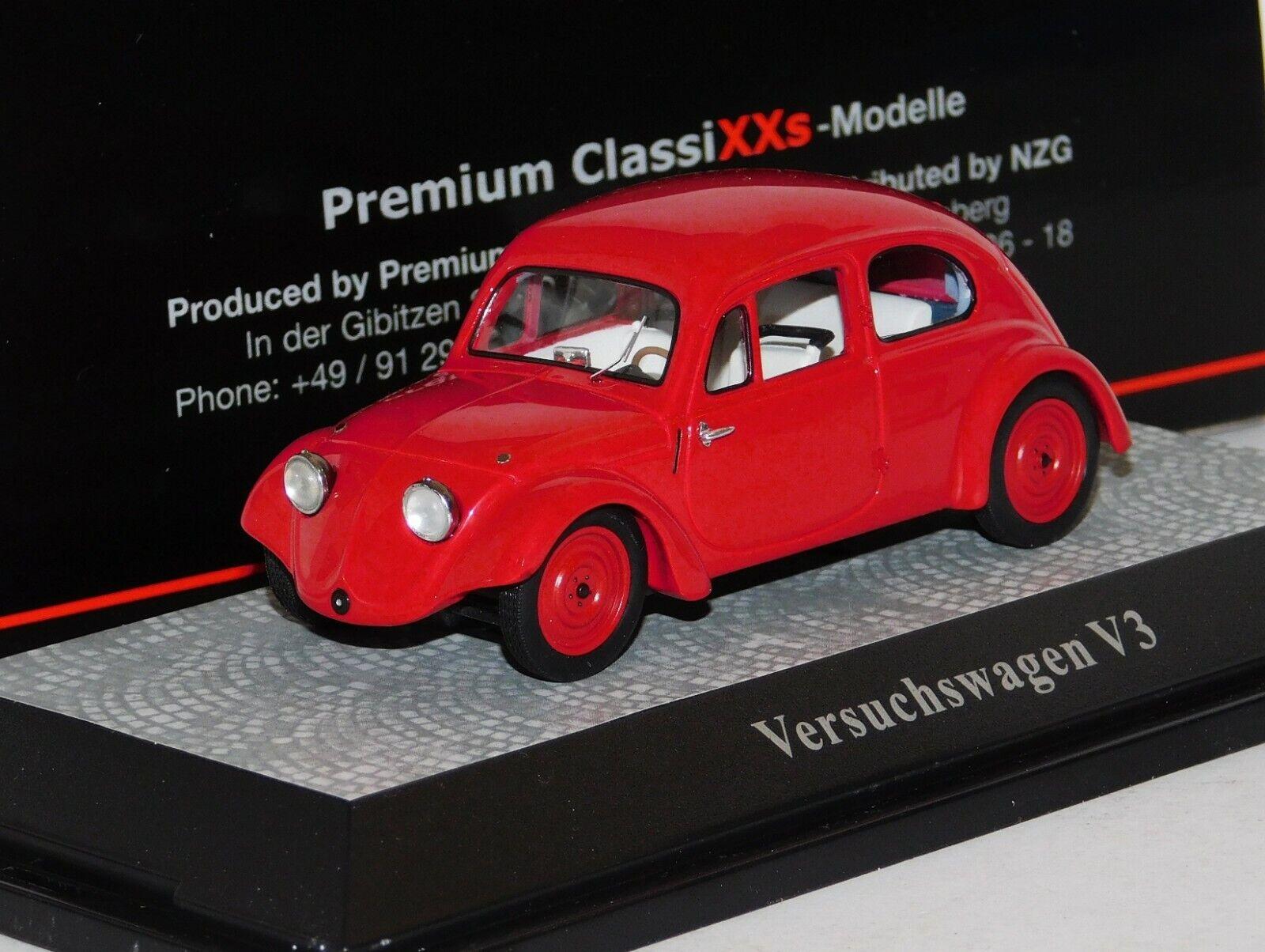 VOLKSWAGEN VERSUCHSWAGEN V3 PROTOTYPE VW rot PREMIUM CLASSIXXS LIM. 18025 1 43