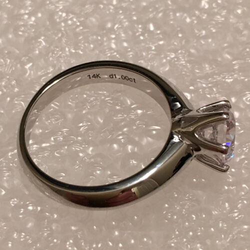 Solitaire Diamond Engagement Ring 1ct 14k White Gold Toned Round Cut Size 9.5