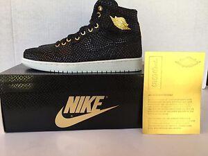 timeless design 60b1c 64e03 Image is loading Nike-Air-Jordan-1-Pinnacle-Black-Metallic-Gold-