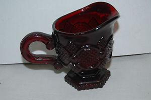 Ruby-Red-Creamer-Red-Glass-Creamer-w-Handle-Avon-1876-Cape-Cod-Collection