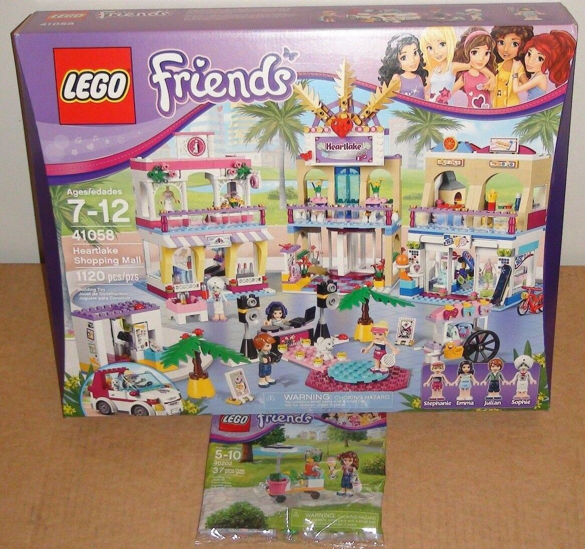 LEGO Friends Heartlake Centre commercial & Smoothie Stand 41058 30202 Stephanie Emma