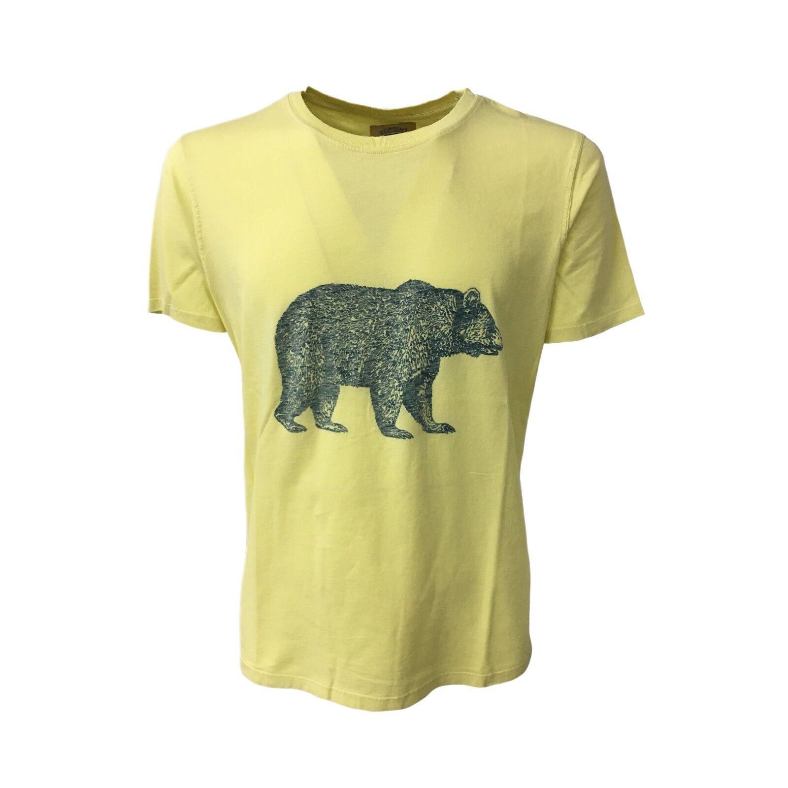 VINTAGE 55 T-Shirt mit kurzen Ärmeln gelb mod tragen 100% Baumwolle